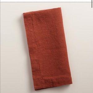 Set of 12 world Market rust orange linen napkins